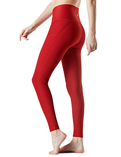 TSLA Yoga Pants Mid-Waist/High-Waist Tummy Control w Side/Hidden Pocket Series, Pocket Thick Contour(fyp54) - Red, Small (Size 6-8_Hip37-39 Inch)