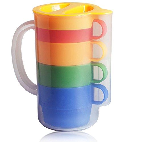 Magic Vosom Premium Quality 28Oz Plastic Tumbler with 4pcs 7Oz Water Tea Mug Set Assorted