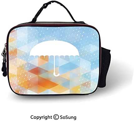 Farmhouse Decor Cooler Bag Detachable Umbrella Figure on Foreground with Fractal Geometric Diagonal Computer Collage Smooth zipper for lunch bag,10.6x8.3x3.5 inch,Multi
