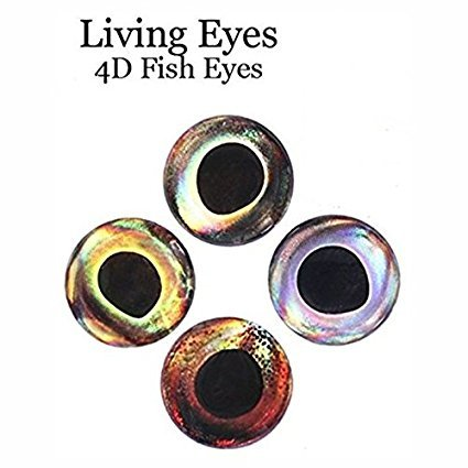 RAH 3-D Epoxy Eyes (60 Pack) For Fishing, Fly Tying, Lures, Crafts - Available in multiple Colors & Sizes - Lifelike 3D Fish Eyes! (Earth, 15 mm)