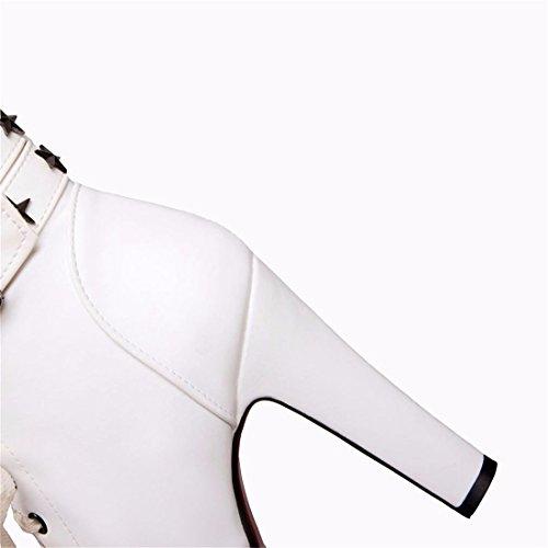 L'Europe et les États-Unis Women's Super avec des Bottes à Talons Hauts Imperméables Bottes Épaisses la Boucle de Ceinture de Taille,Blanc 35
