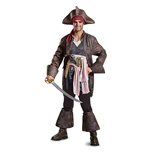 Disguise Men's Plus Size POTC5 Captain Jack Sparrow Deluxe Adult Costume, Brown, X-Large -