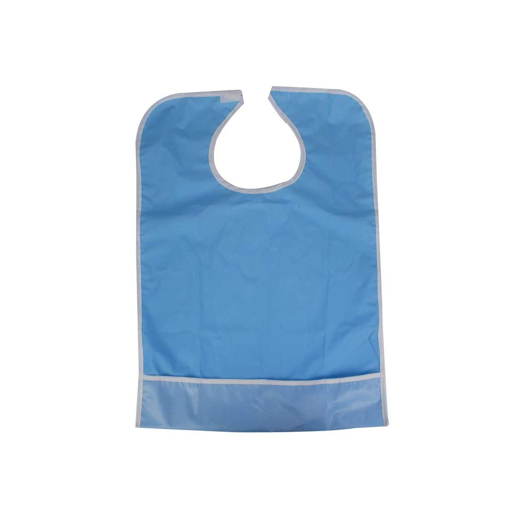 Aofocy Waterproof Adult Eating Bib Clothing Protector Disability Aid Apron - Sky Blue