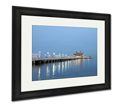 Ashley Framed Prints Pier In St Petersburt At Night Florida, Modern Room Accent Piece, Color, 34x40 (frame size), Black Frame, - In St Malls Pete