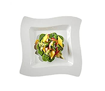 """Fineline Settings Wavetrends- White Square-Wave China-Like 8"""" plate  120 Pieces"""