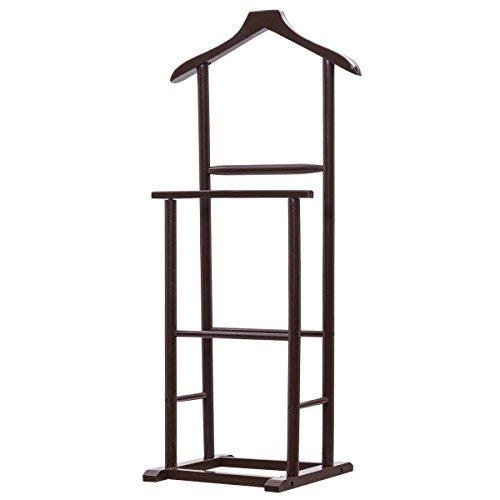 Brown Functional Men Double Suit Shelf Hanger Stand Birch Clothes Coat Rack Lightweight