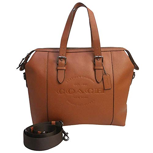 (Coach Mens Leather Hudson Briefcase Tote - #F30620 - Saddle Brown)