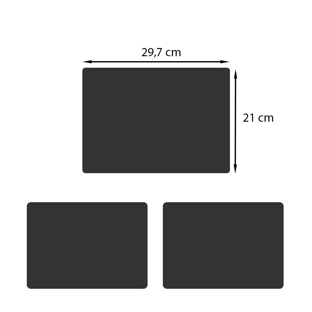 formato DIN A4 3 pezzi Lavagna a gesso ideale come lavagna per scrivere o memo Mehrondo KT104