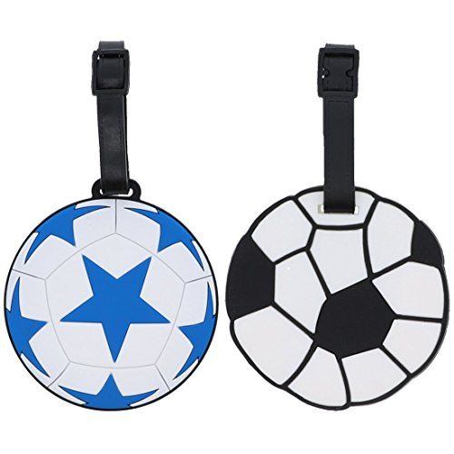 (Soccer Sports Fan Luggage Tag Travel ID (Set of 2) - Blue/White & Black/White)