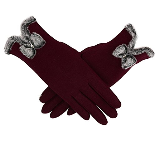 TAORE Women Cashmere Keep Warm Driving Full Finger Gloves Touch Screen Glove (Wine A)
