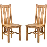 Trithi Furniture - Rancho REAL Oak Dining Chair with Wooden Seat - Set of 2 (Light Dark Oak)