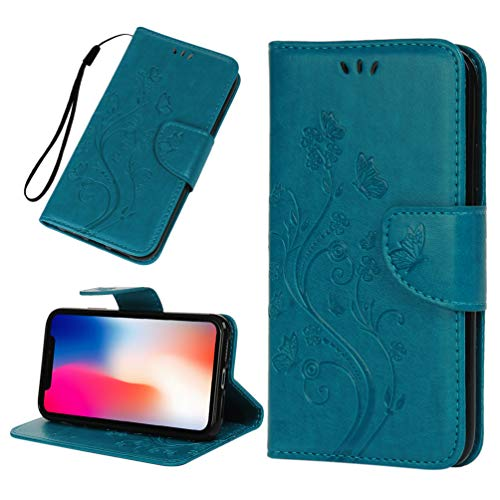 Tom's Village Floral Butterfly Wallet Case for iPhone 11 PU Leather Magnetic Flip Cover Shockproof Flexible Soft TPU Shell Ultra Slim Protective Bumper ID/Credit Card Slots Kickstand Blue