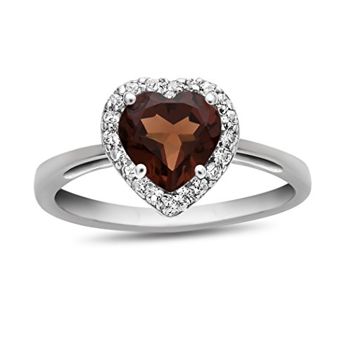 White Gold Garnet Ring (Finejewelers 10k White Gold 6mm Heart Shaped Garnet with White Topaz accent stones Halo Ring Size 7)
