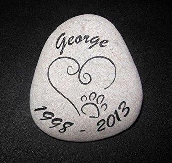 Sandblast Engraved River Stone Pet Memorial Headstone Grave Marker Dog Cat h med GraphicRocks