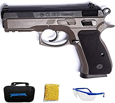 Asg CZ 75D Compact FDE Duotone - Pistola de Airsoft Calibre 6mm (Arma Aire Suave de Bolas de plástico o PVC). Sistema: Muelle. <3,5J