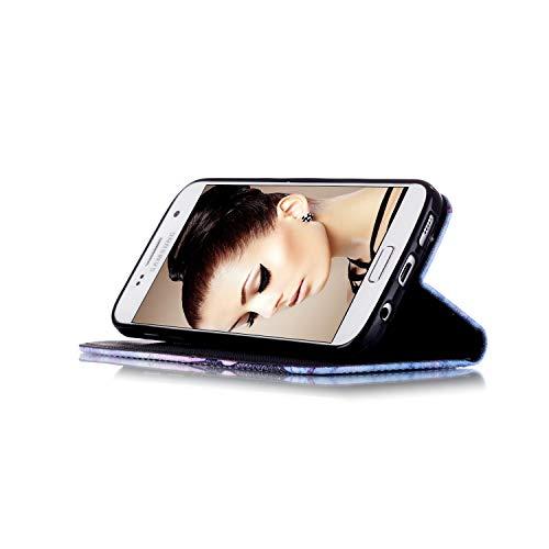 Avec Galaxy Magnétique Couverture Premium S7 Cartes Prechkle De Colorée Noirs Cuir Téléphone Carillons En Fentes Antichocs Pu Portefeuille Samsung Éoliens yeux Coque Fermeture Pour Edge FawFqXRnCx