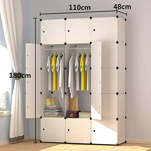 Roughneck Office Storage File - Multi-Function Locker-Plastic Assembly Sliding Door Simple Modern Adult Wardrobe Simple Solid Wood Bedroom Cabinet White 15 Doors 2 Hanging