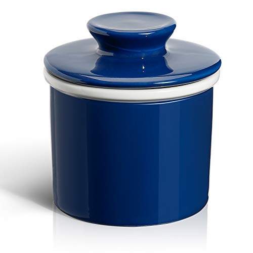 Sweese 3111 Porcelain Butter Keeper Crock - French Butter Dish - No More Hard Butter - Perfect Spreadable Consistency, Navy