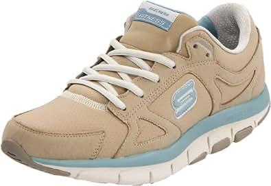 Skechers Women's Swell Walking Shoe,Stone/Blue,6 M US