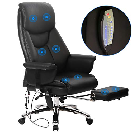 (BestOffice New Gaming Chair High-Back Computer Chair Ergonomic Design Racing Chair (Massage Chair Black))