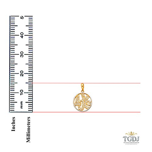 14k Yellow Gold ''LOVE'' CZ Pendant Avg. Weight 1.6 grams Diameter 15 MM by Top Gold & Diamond Jewelry (Image #2)