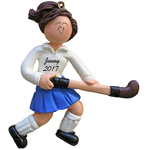 "Field Hockey Player Personalized Christmas Ornament - Female - Brown Hair - Handpainted Resin - 4.5"" Tall - Free Customization by Calliope Designs"