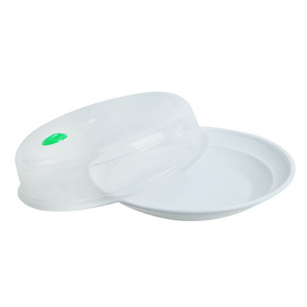 Cutogain Round Microwave Safe Plastic Plate Dishes with Lid Steam Tray Kitchen Holder Dumplings Container
