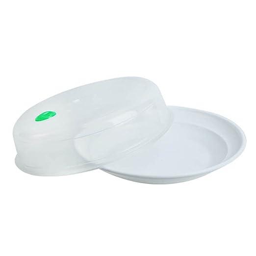 Cutowin - Bandeja Redonda de plástico para microondas con Tapa ...