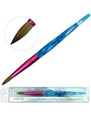 Pana USA Acrylic Nail Brush100% Pure Kolinsky Hair Acrylic White~Swirl~Blue Handle with Pink Ferrule Round Shaped Style (Size # 6)