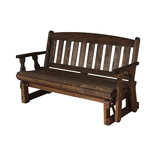 CAF Amish Heavy Duty 800 Lb Mission Pressure Treated Porch Glider (4 Foot, Dark Walnut Stain)