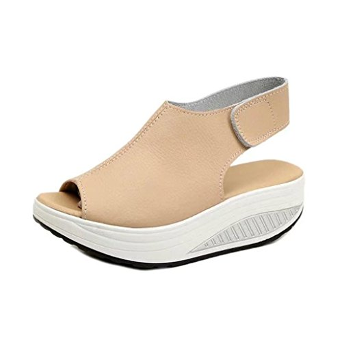 New Promotions! Tootu Fashion Women Shake Shoes Summer Sandals Fish Mouth Thick Bottom HIGT Heel Shoes (US:9/43, Khaki)