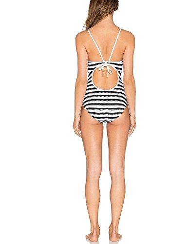 BYD Mujeres Trajes de una pieza Colores Mezclados a Rayas Bañador Push Up Bikinis Ropa de baño Blanco