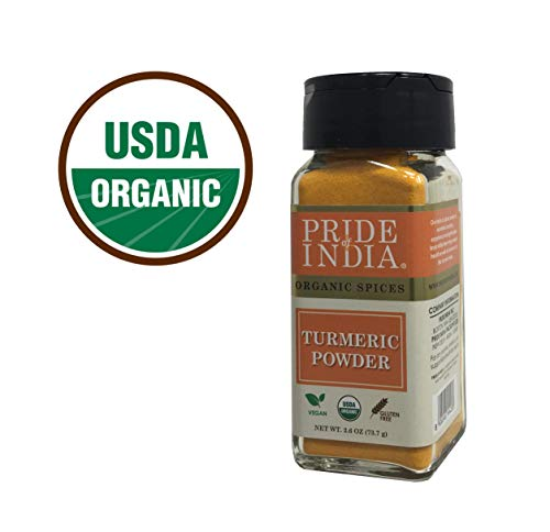 (Pride Of India- Organic Turmeric Ground (High Curcumin), 2.6 oz(74gm) Dual Sifter Jar, Authentic Indian Vegan Spice, Best for Golden Milk - BUY 1 GET 1 FREE (MIX AND MATCH - PROMO APPLIES AT CHECKOUT))