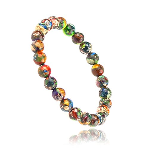 CLEARAIN Beautiful Energy Power Crystal 8mm Chakra Beads Reiki Healing Elastic Stretch Bracelet