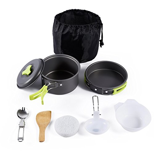 OUTAD Camping Cookware Mess Kit, Camping Pot Cookware 8 Pcs Outdoor Cooking Set Stainless Steel Hiking Picnic BBQ Pot Pan Plate Cup Set by OUTAD