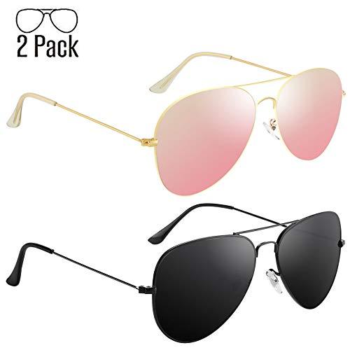 Livhò Aviator Sunglasses Polarized for Men Women Metal Frame UV 400 Protection Outdoor (Black Grey+Sakura powder .) ()
