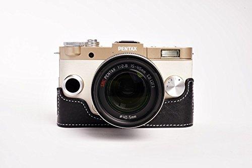 Handmade Genuine real Leather Half Camera Case bag cover for Pentax QS1 Black color