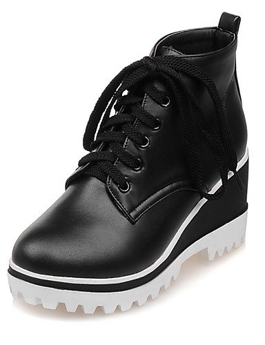 Xzz/ Chaussures Femme-bureau & Travail / Habillé Décontracté-noir Blanc-talon Compensé-compensées Bout Arrondi Bottes À La Mode-bottes- White-us6 Eu36 Uk4 Cn36