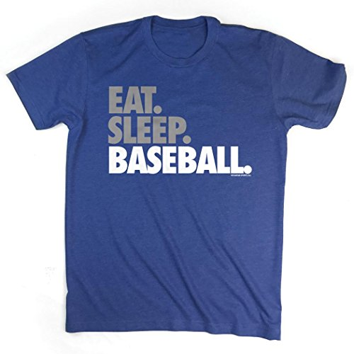 About Baseball T-shirt - Eat Sleep Baseball Bold Text T-Shirt | Baseball Tees by ChalkTalk SPORTS | Royal | Adult Medium