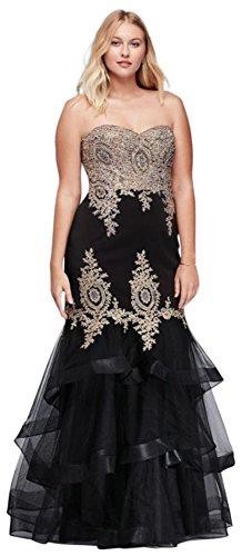 David's Bridal Embroidered Mermaid Plus Size Prom Gown with Tier Skirt Style 1579W, Black, 20 by David's Bridal