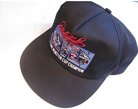 NASCAR Flat Bill Dale Earnhardt Sr #3 Seven 7 Time Winston Cup Champ Black Hat Cap One Size Fits Most OSFM Plastic Snapback Strap