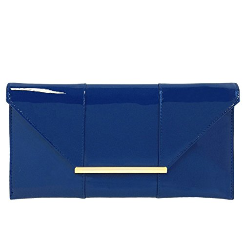 (Faux Patent Leather Envelope Candy Clutch, Royal Blue)