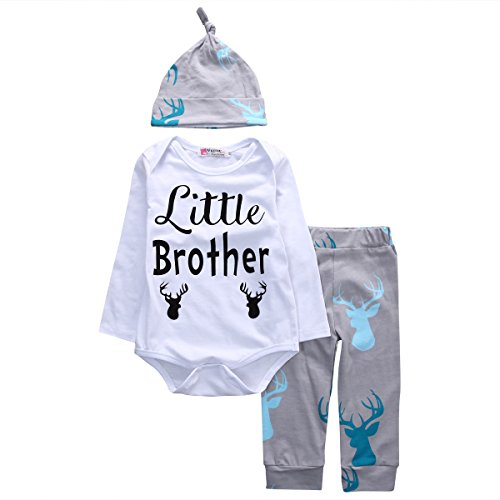 Price comparison product image Baby Boys Deer Long Sleeve Little Brother Bodysuit and Pants Outfit with Hat (80(6-9M),  White+grey)