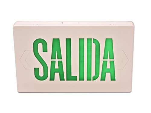 Howard Lighting HL0201B2GW-ESP Spanish Exit Sign White Case Green Letters (White Exit Sign)