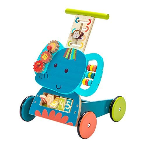 labebe - 4 Wheels Walker for Baby, Push Wagon Cart for Kid, Push Toy Walker for Girl/Boy 1-3 Years Old, Toy Shopping Cart, 4-in-1Wooden Wagon Toy, Baby Activity/Learning Walker Infant - Blue Elephant (Boy Baby Wagon)