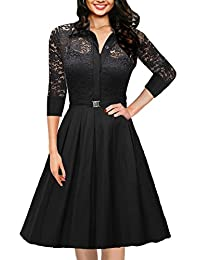 OWIN Women's Vintage 1950s Style 3/4 Sleeve Black Lace Flare A-line Dress