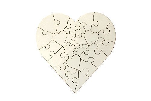 Signzworld 5x Blank Heart Shape Jigsaw MDF Puzzle for Heat Press Sublimation 205833 UKCutter