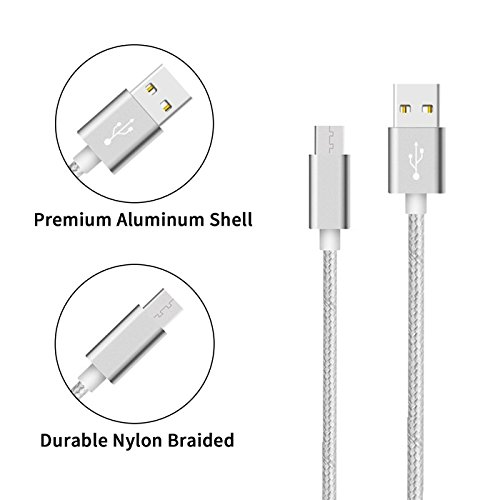 high-quality Wall Charger, Daker USB C Charger Adapter with [3 Pack] 6FT Nylon Braided Fast Charger Cord for Samsung Galaxy Note8 S8 S8 Plus, LG G6 G5 V30 V20, Google Pixel, New Macbook and More (Silver)