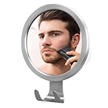 Avolare Fogless Shower Mirror with Power Lock Suction Cup, Razor Hook, Anti-Fog Nanotechnology, Personal Fog Free Shaving Mirror, Stainless Steel