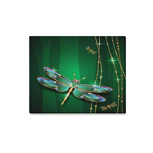 ENEVOTX Wall Art Painting Beauty Jewel Dragonfly On Green Background Prints On Canvas The Picture Landscape Pictures Oil for Home Modern Decoration Print Decor for Living Room